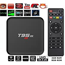 Aikenuo T95M 4K 2GB+8GB Smart TV Box Quad Core Amlogic S905X Android 6.0 Lollipop OS Mini Set Top Box Streaming Media Player With HDMI WIFI Bluetooth 3D Google Youtube