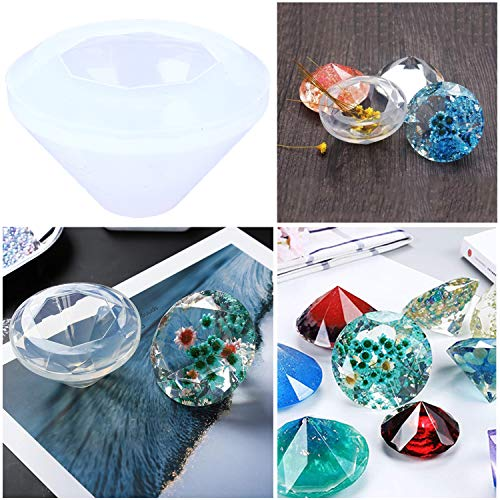 6 Pack Resin Casting Molds Large DIY Silicone Resin Craft Mold Jewelry Molds,Sphere Cube Diamond Pyramid Shape Molds for Polymer Clay Resin Epoxy,Jewelry Making,with Mixing Cups/&Sticks