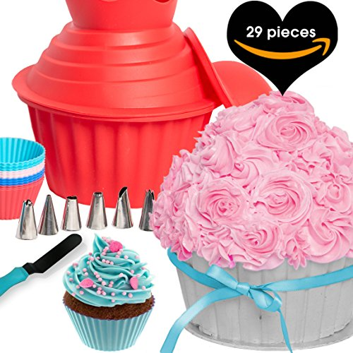 29pcs GIANT CUPCAKE PAN SET - Cake Decorating Supplies Gift Kit Tools Plus Frosting Icing Piping Bags and Tips and 12 Silicone Cups. Large Jumbo Muffin Pastry Baking Accessories By Cakes Of Eden - Gift Set Cakes
