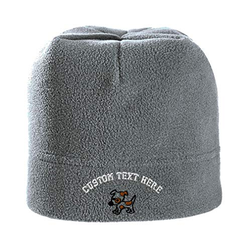 Custom Text Embroidered Jack Russell Terrier Puppy CuteDog Unisex Adult Polyester/Spandex Stretch Fleece Beanie Skully Hat - Light Grey, One Size
