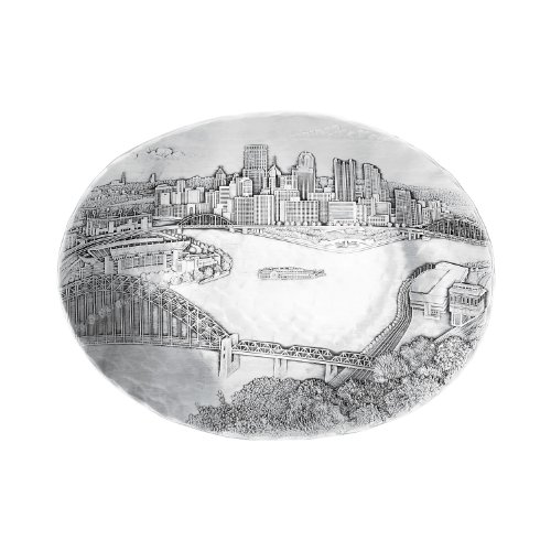 Wendell August Pittsburgh Cityscape Oval Dish, Small