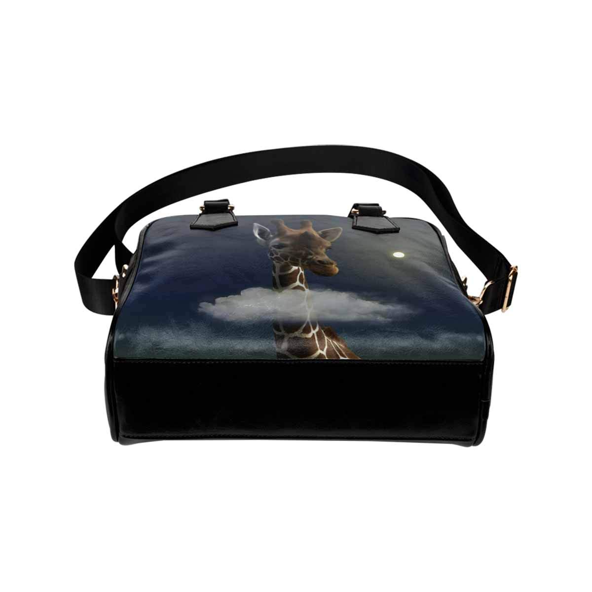 InterestPrint Beautiful Giraffe and a Fantsy Cloud in the Middle of Its Neck Womens Top Handle PU Leather Shoulder Satchel Bag