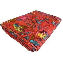 Handicrunch Bird Print King Size Kantha Quilt RED , Kantha Blanket, Bed Cover, King Kantha bedspread, Bohemian Bedding Kantha Size 90 Inch x 108 Inch