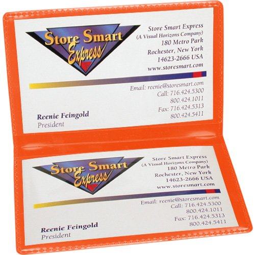 (StoreSMART - Orange Folding Business Card Holders - 10 pack - Polypropylene Plastic (RPP2915O-10))