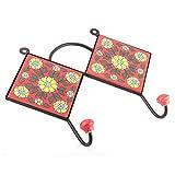 IndianShelf Handmade 1 Piece Ceramic Red Yellow Flower Tiles Artistic Rust Free Wall Hooks/Cloth Coats Hangers/Keys Holders