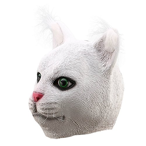 Cat Costumes Mask (Ylovetoys Latex Cat Head Animal Mask for Halloween Party Cosplay Costume (White))