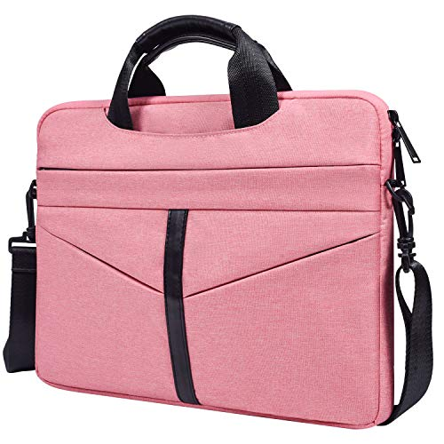 CaseBuy 14 Inch Premium Waterproof Laptop Shoulder Bag for Acer Chromebook 14, HP Chromebook 14/Stream 14, LG Gram 14, Lenovo Yoga 920 13.9, 14 Inch Notebook Slim Briefcase Bag for Women Grils, Pink