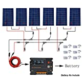 ECO-WORTHY 720 Watt 24V Solar Panel Complete Kit: 6 pcs PV Solar Panel with 20A Controller for Boats, Tent, Solar Lighting System and Other Outdoor Equipments