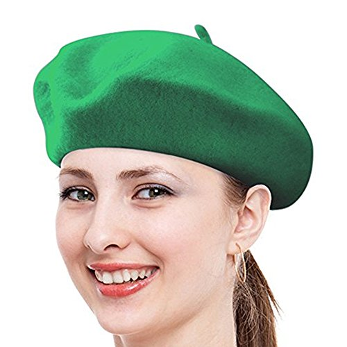 Beatnik Costumes Ideas (Super French Berets,FuzzyGreen Green Solid Color Casual French Wool Beret - 2017 Newest)