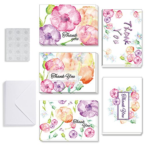 Thank You Cards Wedding Floral Flower Blank Greeting Card Baby Bridal Shower Anniversary Notes Wove Paper with Envelopes and Glue Point 15 Sets (5 style design,3 of each?