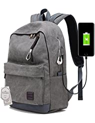 Muchengbao Fashion leisure travel canvas backpack with USB Charging Port Fits up to 15.6 inch Laptop men students...