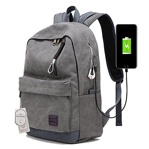 State Usb - USB packsack travel canvas backpack Weekend Bag college students school bag for men's and women's (gray)