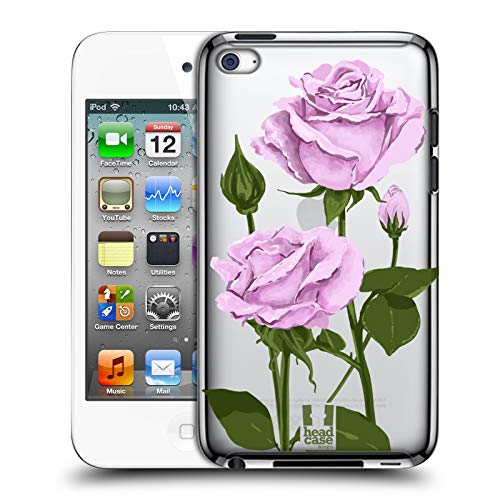 Head Case Designs Sterling Silver Roses and Wildflowers Hard Back Case Compatible for Apple iPod Touch 4G 4th Gen