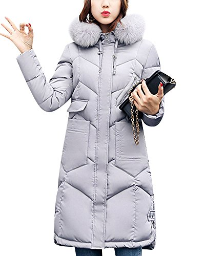 Womens Long Down Feel Jacket Coat Hooded Big Collar Cotton Clothing Grey
