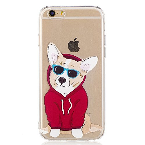 Cute Case For iPhone 6 6S, GreenDimension Embossed Adorable Dog Pattern Ultra Slim Transparent Soft TPU Silicone Hybrid Flexible Shock Absorption Protective Skin Clear Cushion Bumper Back - Cover Insurance Sunglasses Does