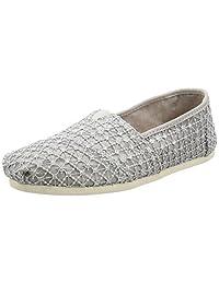TOMS Women's Classics Flat Silver Crochet Lace Size 6 B(M) US