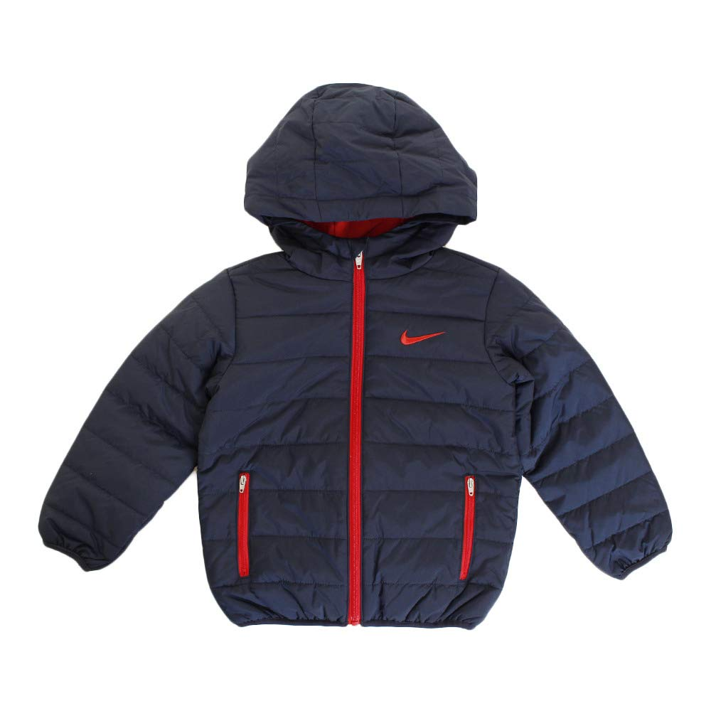Nike Kids Boy's Quilted Jacket (Little Kids) Obsidian/University Red 4 US Little Kid by Nike (Image #1)