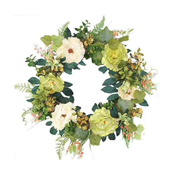 """Forevercute 16-18"""" Silk Green Poney Wreath, Autumn Front Porch Decoration, Handcrafted Mix Flowers Wreath"""