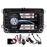 7 inch Car DVD Stereo Player for Vw Golf Jetta Passat Tiguan Touran Eos GPS Navigation Autoradio Bluetooth Headunit in Dash Video FM AM Radio Receiver with Canbus GPS Antenna Map Card