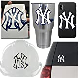 5 New York Yankees Car Decals. Vinyl Stickers Set. Waterproof NY Logo Emblems. Cell Phone Case Laptop Wall Helmet Window Boat Mug Toolbox Lunchbox Bike Car Beisbol Hard Hat Bumper Merchandise Gift Box