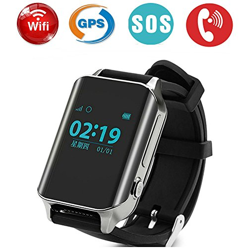 TKSTAR GPS Tracker Watch for Elderly, WiFi LBS GPS Realtime Tracking Large Screen 2 Way Calls SOS Alert Waterproof Wristwatch with HR Support SIM Card A16 (Black) ()