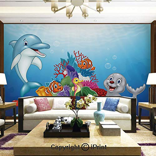 Lionpapa_mural Nature Wall Photo Decoration Removable & Reusable Wallpaper,Happy Adorable Tropical Ocean Animals on Coral Reef Cartoon Style Sea Wildlife Decorative,Home Decor - 66x96 inches