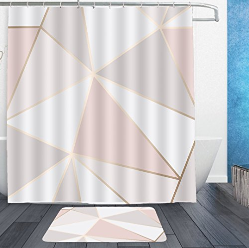AMERICAN TANG Shower Curtains With Hooks and bath rug mat - Rose Gold Geometric mirror Pattern Bath Curtain Liner - Waterproof Polyester Fabric Bathroom Decor Set - 72x72/18x36 by AMERICAN TANG