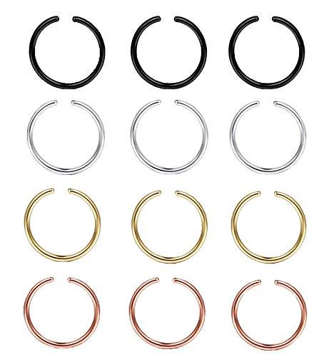 LOLIAS 12Pcs 20G 8MM Stainless Steel Nose Rings Piercing Jewelry Hoop Nose Ring (F:3Pcs Steel,3Pcs Black,3Pcs Gold-tone,3Pcs Rose-Gold-tone)