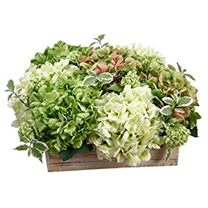 "11"" Hydrangea & Snowball Silk Flower Arrangement -Green/Cream 52"