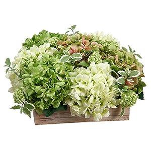 "11"" Hydrangea & Snowball Silk Flower Arrangement -Green/Cream 28"
