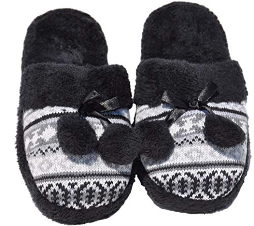 Top Prime Terry Black Fluffy Faux Fur Non Slip Closed Toe Plush Comfy Scuff Soft Home Women Flat Flip Flop Slipper Stocking Stuffer Gift Idea Under 20 Dollars for Ladies Teen Girl (Size 9 Black) ()