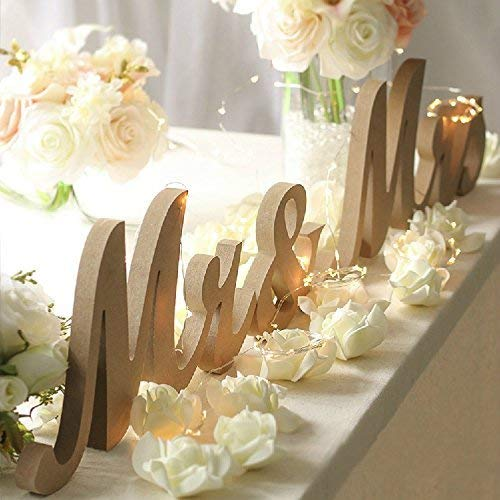 Haperlare Modern Vintage Style Wooden Mr and Mrs Sign Rustic Mr & Mrs Letters Wedding Signs for Wedding Table,Photo Props,Party Table,Top Dinner,Rustic Wedding Decorations, Wood color -