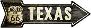 Smart Blonde Outdoor Decor Vintage Route 66 Texas Novelty Metal Arrow Sign A-129