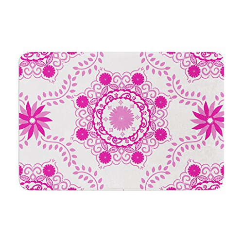 KESS InHouse AS1012BBM02 Bath Mat Anneline Sophia ''Let's Dance Fuschia'' Pink Floral Memory Foam Bath Mat, 24'' X 36'',, by Kess InHouse