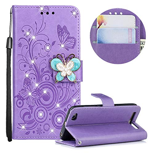 - MOIKY Soft Silicone Case for Xiaomi Redmi 5A,Luxury 3D Diamond Butterfly Buckle PU Leather Magnetic Flip Stand Function Case for Xiaomi Redmi 5A with Card Holder Pockets-Purple