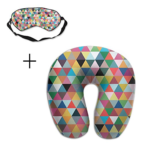 U-Shaped Travel Memory Neck Pillow Geometry Pattern Eye Mask Adjustable-Strap Eyeshade Skin-Friendly Train Sleep