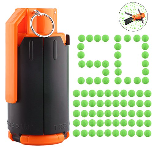 - FenglinTech CS Grenade, Tactical Plastic Modified Crystal Water Bullet Bomb with 50PCS Rounds Refill Bullet Balls Ammo - (Green)