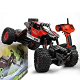 Gizmovine RC Rock Crawler 4WD 4 Modes Steering Waterproof 2.4Ghz Radio Control Toy Monster Truck Off Road (1/16 Scale) Red