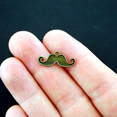 8 Mustache Charms Antique Bronze Tone Vintage Crafting Pendant Jewelry Making Supplies - DIY for Necklace Bracelet Accessories by CharmingSS for $<!--$13.99-->