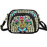 Women Embroidery Bag Canvas Small Shoulder Messenger Travel Purse Totes Handbags (Coins)