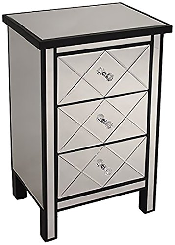 Heather Ann Creations Modern 3 Drawer Accent Chest/Console with Front Beveled Mirrored Finish, 31