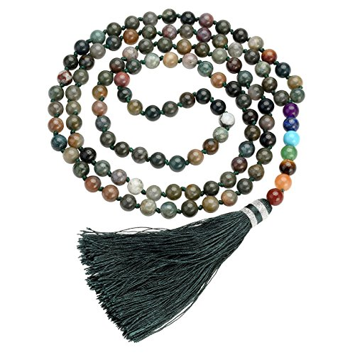 Top Plaza 108 Mala Beads Necklace Beaded Tassel Necklaces 7 Chakra Healing Crystals Gemstone Jewelry for Buddhist Prayer Rosary Meditation(Moss Agate) ()