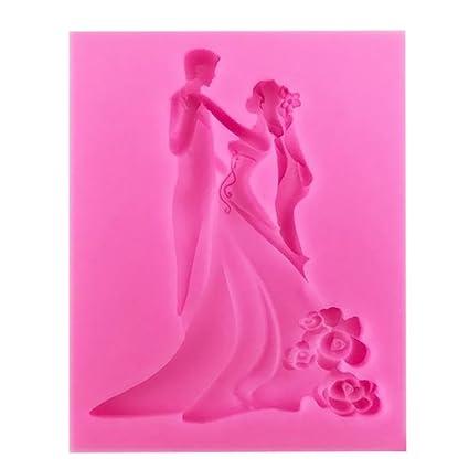 Daliuing Moldes de Silicona Molde de Decoración de Pastel Vestido de Novia de la Boda para