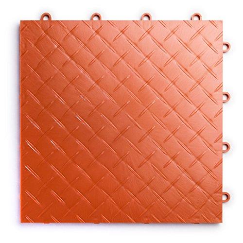 RaceDeck Diamond Plate Design, Durable Interlocking Modular Garage Flooring Tile (12 Pack), Orange
