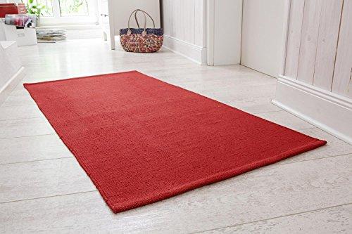 Handwebteppich Milo, Läufer aus 100% Baumwolle, pflegeleicht & waschbar, 60x120 cm einfarbig, Farbe:Rot;Größe:60x120cm