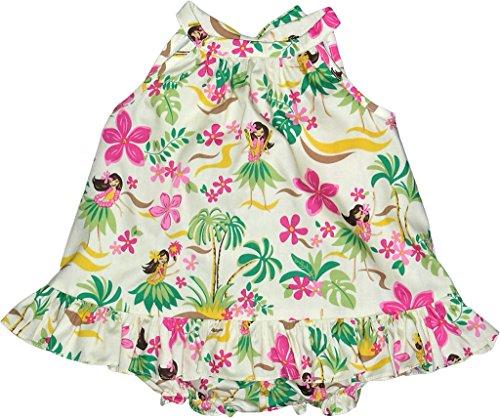 RJC Baby Girl's Hula Spring Halter Ruffle Hawaiian 2 Piece Dress Set Beige 12-Months