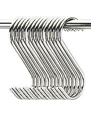 "20 Pack 3.5"" Hooks S Shaped Hanging Hooks Stainless Steel Metal Hangers Hanging Hooks Kitchen,Closet,Bathroom,Work Shop,Garden,Outdoor etc."