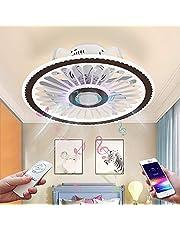 LED plafondlamp met ventilator en bluetooth speaker plafondventilator met verlichting Onzichtbare muziek plafondlamp Dimbare afstandsbediening ventilatorlamp voor slaapkamer kinderkamer Ø48CM