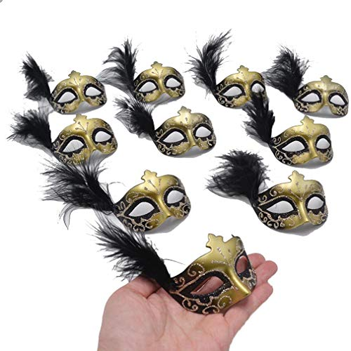Yiseng Mini Mask Party Decoration 12pcs Black Feather Mardi Gras Mask Novelty Gift ()