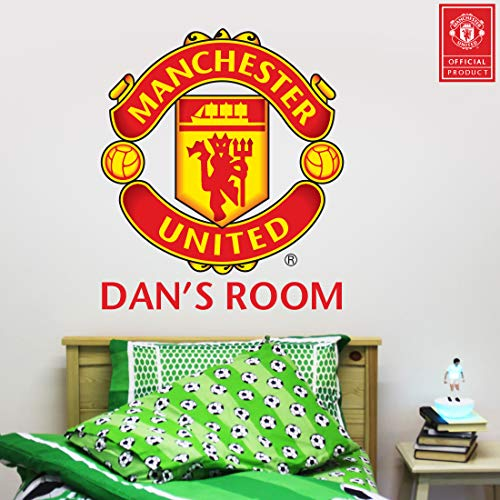 Beautiful Game Ltd Manchester United Football Club Official Personalised Name and Crest Wall Sticker + Man Utd Logo Decal Set Vinyl Poster Print Mural Art (120cm)
